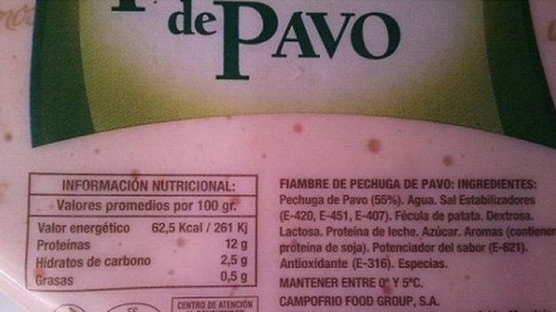 Propiedades nutricionales del fiambre de pavo