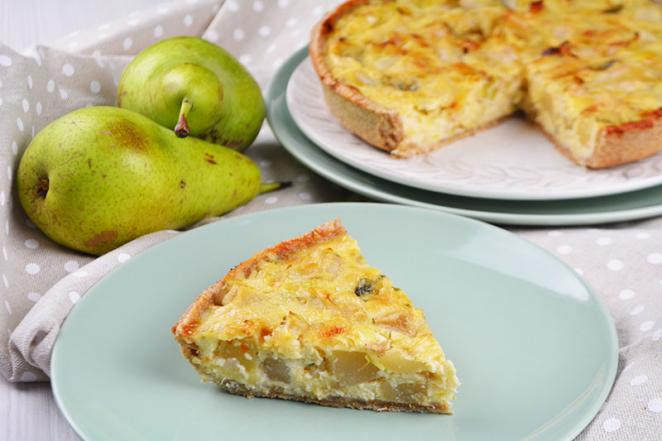 Quiche de peras y queso roquefort