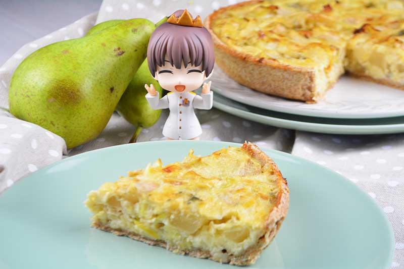 deliciosa quiche de peras y queso roquefort o queso azul con todas sus propiedades nutricionales por nutricienta